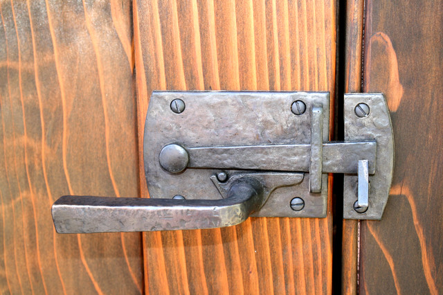 Dark bronze contemporary lever latch with square handle on for Driveway gate lock