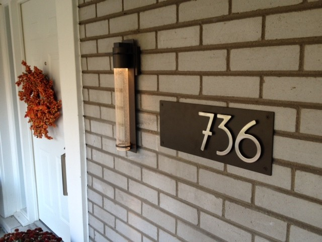 Captivating Dark Bronze Plaque With Bungalow Style Stainless Steel House Numbers  Midcentury Exterior Part 26