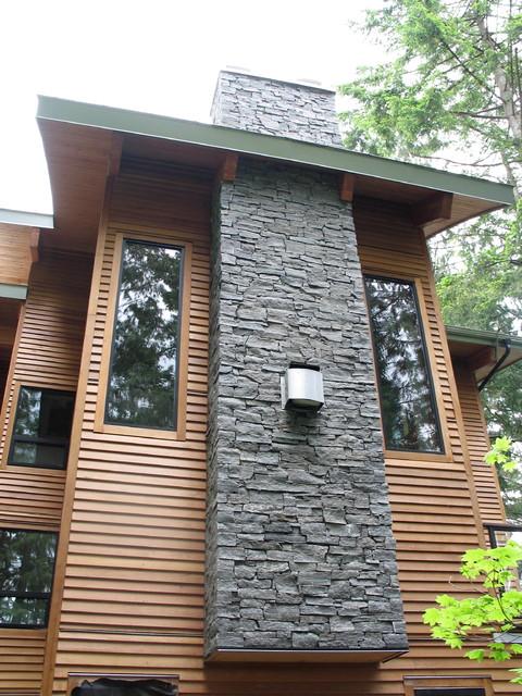 Design Chimney deep cove stone chimney - exterior - vancouver -dwell masonry