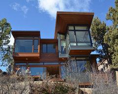 Deschutes House Under Construction modern-exterior