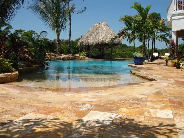 Desert Gold Travertine Pavers tropical-exterior