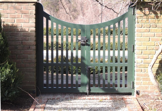 Double Gate Hardware Installation with Cane Bolt traditional-exterior