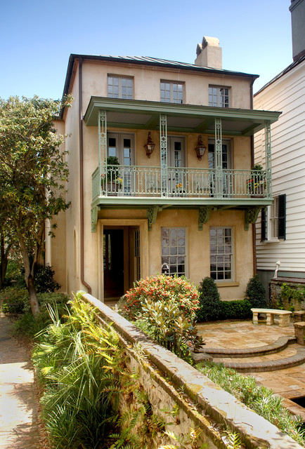 Design ideas for a traditional exterior in Charleston with three or more floors.