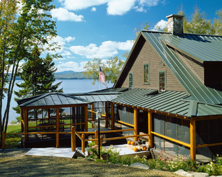 Driftwood camp rustic exterior portland maine by - Exterior paint colors with green metal roof ...