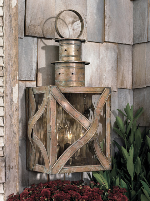"""Dune Road Collection 3-Light 23"""" Olde Bay Wall Lantern with Water Glass traditional-exterior"""