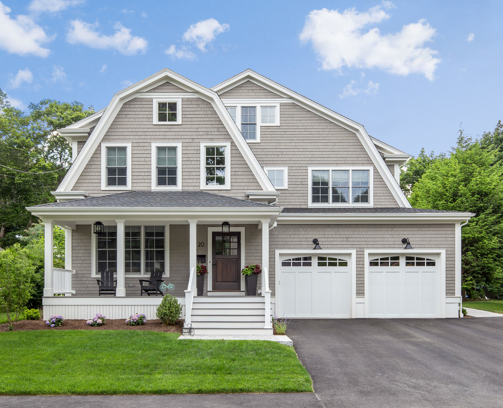 Inspiration for a timeless gray three-story wood house exterior remodel in Boston with a gambrel roof