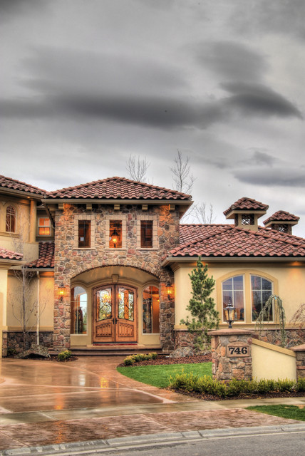 Eagle idaho custom home mediterranean exterior for Custom mediterranean homes