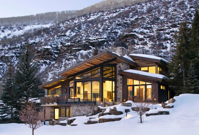 East vail residence rustic exterior denver by for Luxury winter cabins