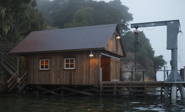 Boat House Eclectic Exterior By Barn Light Electric Company