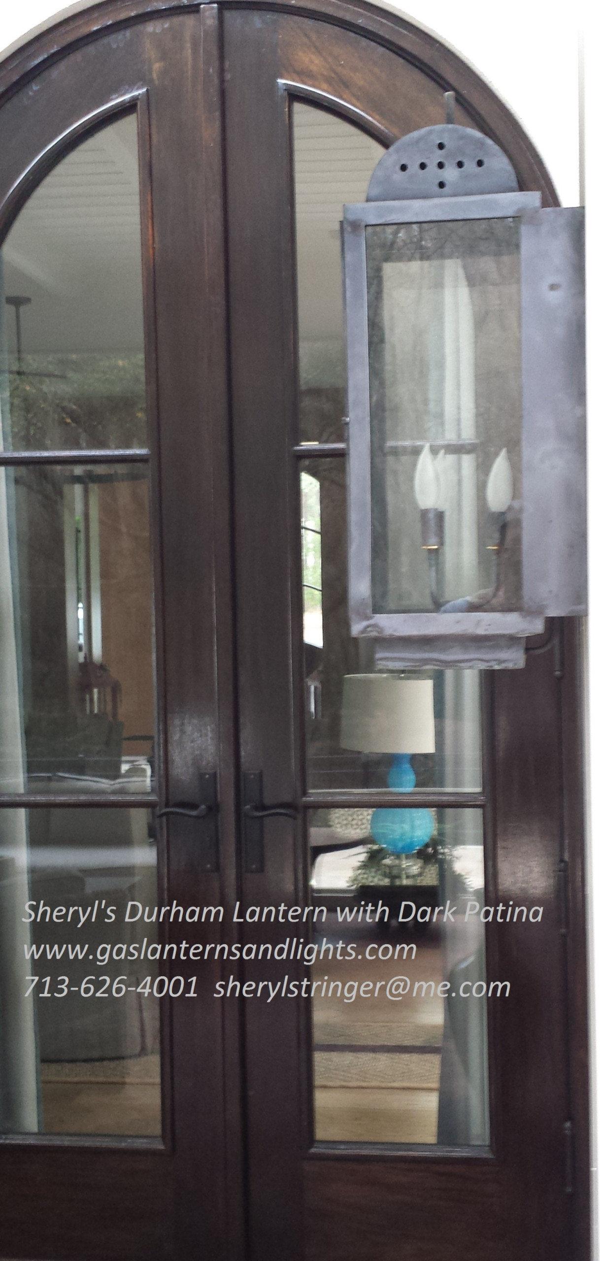 Electric Durham Lantern with Dark Patina Finish  by Sheryl Stringer