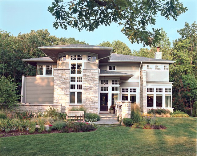 Elegant prairie contemporary exterior chicago by for Modern stucco house