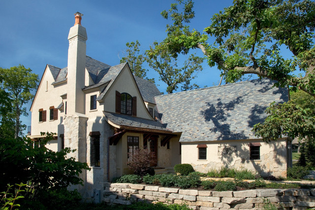 Elegant Stone and Stucco French Country House with MultiColored