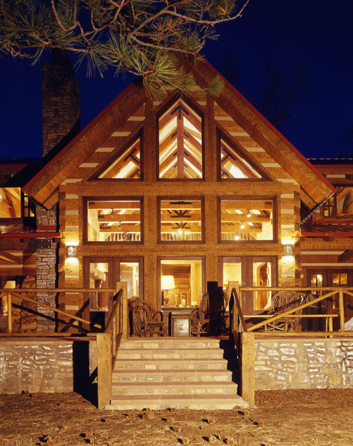 Elk river ii hand hewn chinked log home rustic for Rustic home albuquerque