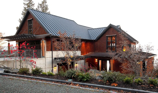 View from road modern exterior seattle by dan for Dan nelson architect