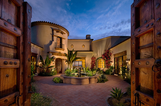 Entry courtyard mediterranean exterior phoenix by for Adobe hacienda house plans