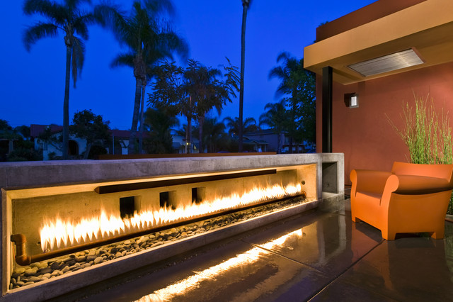 Entry Patio Fireplace modern-exterior