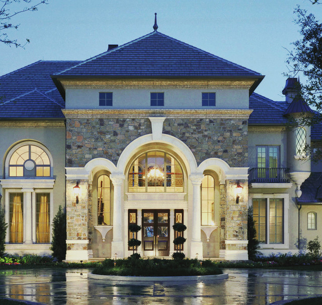 Entry porch detail in stone traditional exterior for Dream home design usa