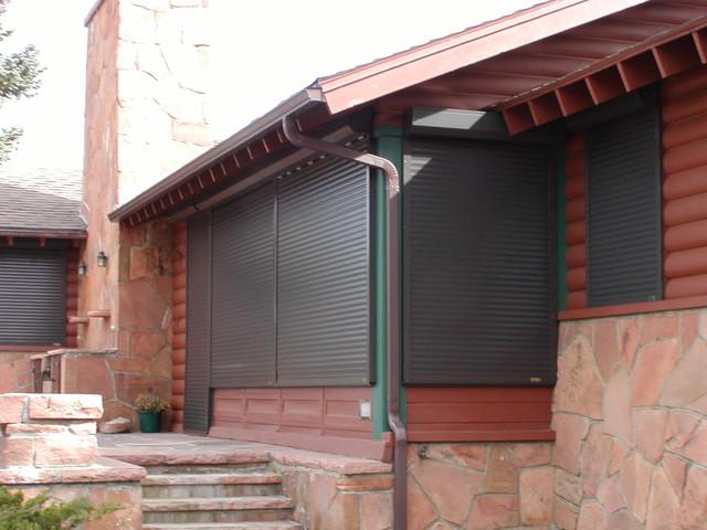 estes park cabin exterior shutters traditional exterior denver by roberts drapery