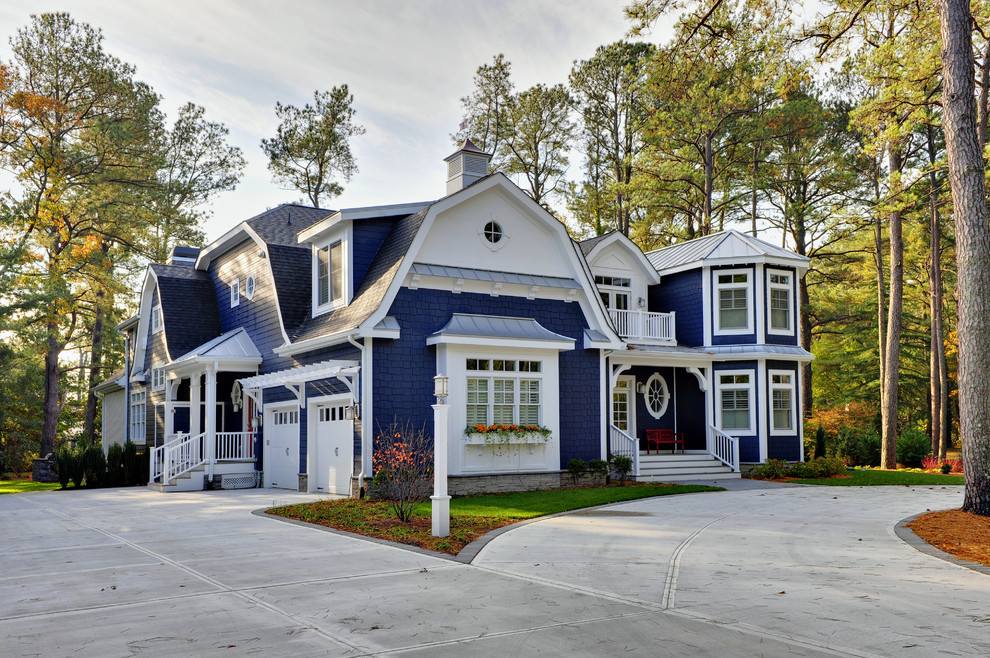 Beach style wood exterior home idea in Philadelphia with a gambrel roof
