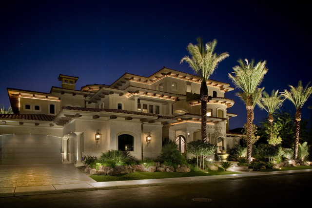 exterior elevation with cove lights   mediterranean