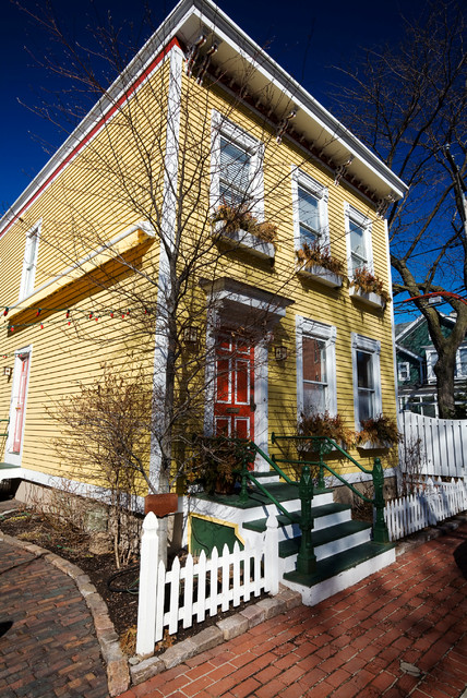 Exterior Home Painting Yellow Two Story With White Trim