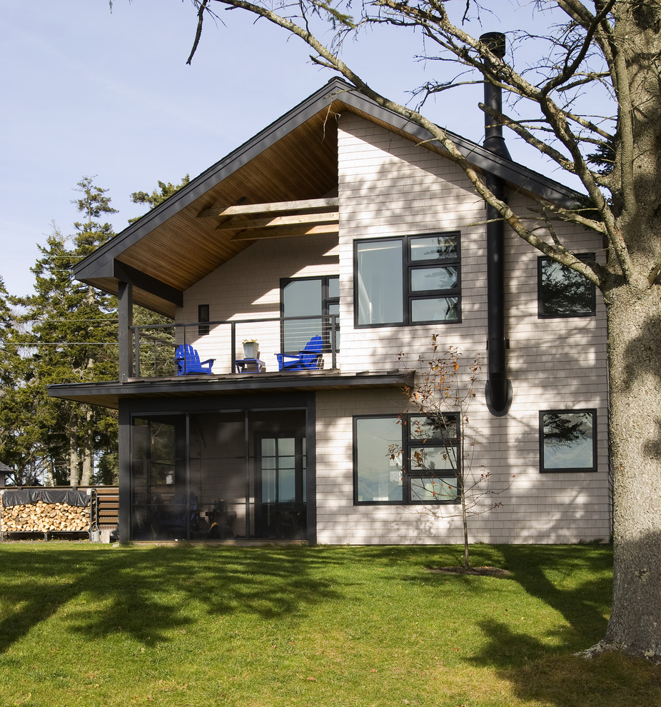 Mountain style two-story exterior home photo in Portland Maine
