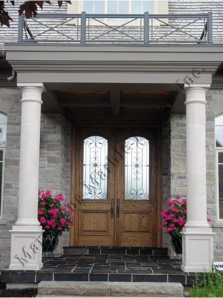 Exterior Limestone Columns u0026 Door Entrance traditional-exterior & Exterior Limestone Columns u0026 Door Entrance - Traditional - Exterior ...