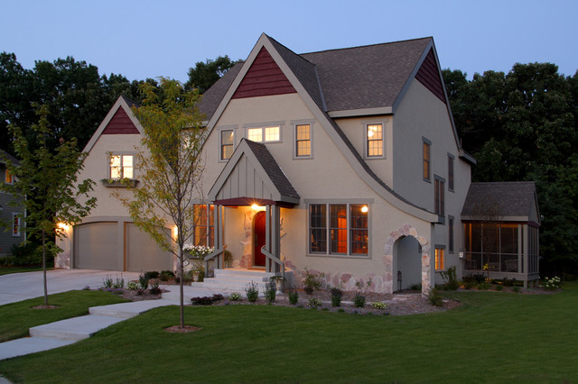 Exterior modern tudor traditional exterior for Modern tudor house