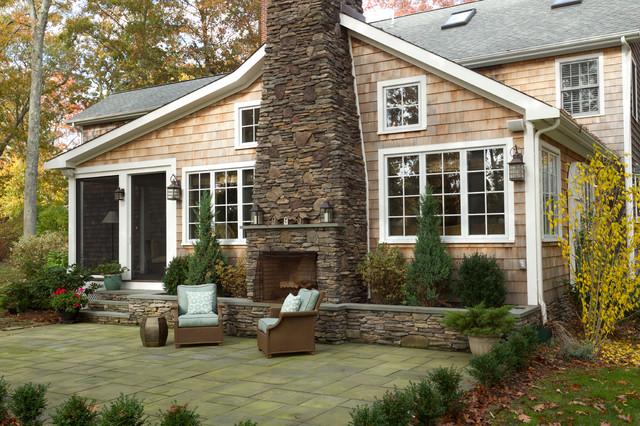 Exterior of New England shingle home Traditional