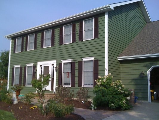 Exterior Painting Green Two Story Traditional Home With