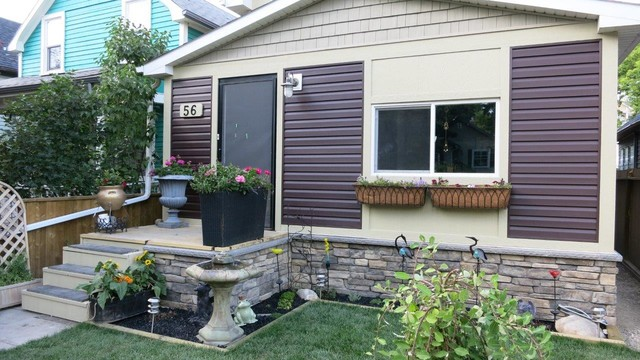 Exterior renovation transitional calgary by boulevard exteriors Exterior home renovations calgary