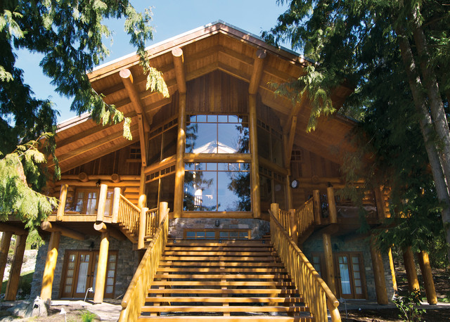 Exterior shots of log homes from traditional log homes for Modern log cabin homes