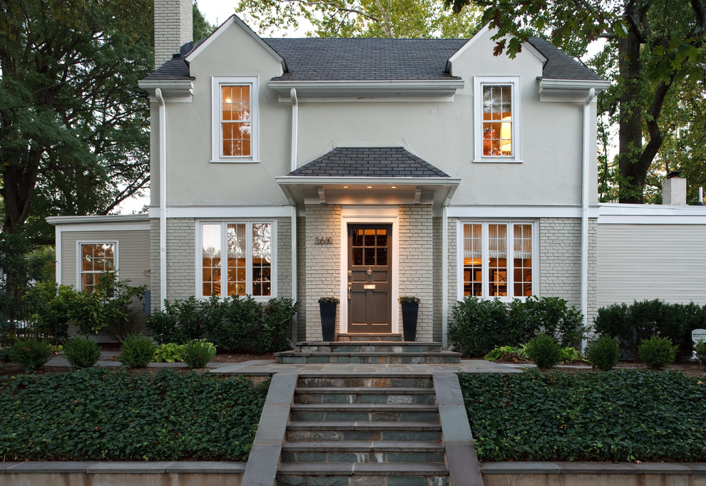 Example of a classic gray exterior home design in DC Metro