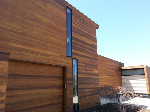 Wood stain modern exterior other metro by l w winslow painting inc - Exterior white wood paint collection ...