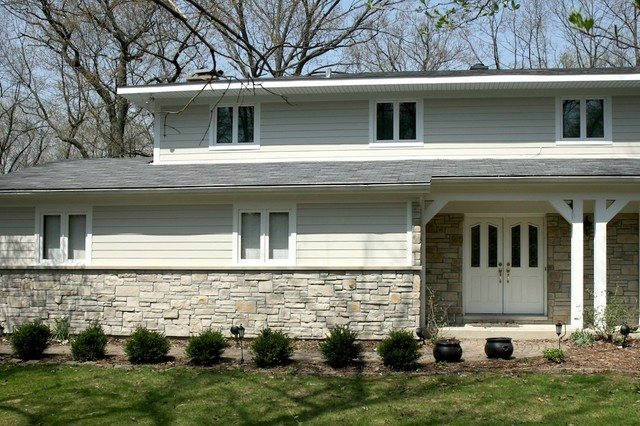 Exterior House Design With Some Stone Work  Trends Home Design Images