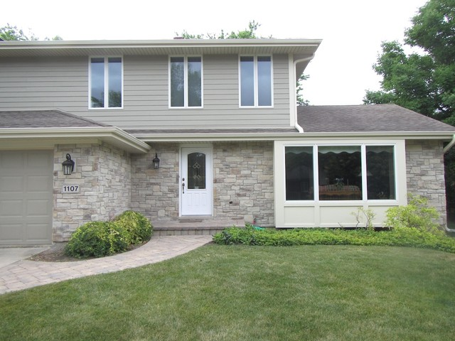 Exterior Stone Siding And Hardie Board Traditional