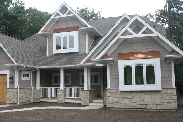 Exterior Stone Siding and Hardie Board - Traditional