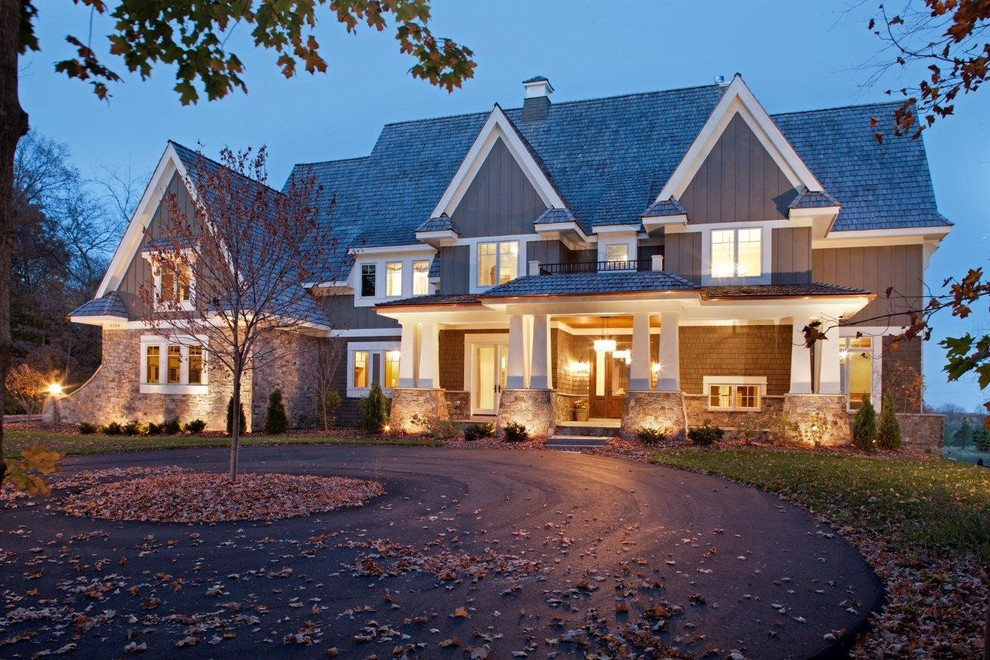 Inspiration for a craftsman wood exterior home remodel in Minneapolis