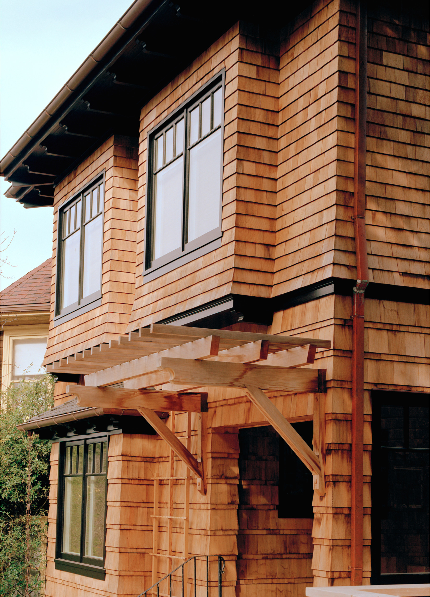 Exterior with natural shingles
