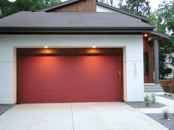 Good Exterior With Red Garage Door Contemporary Exterior
