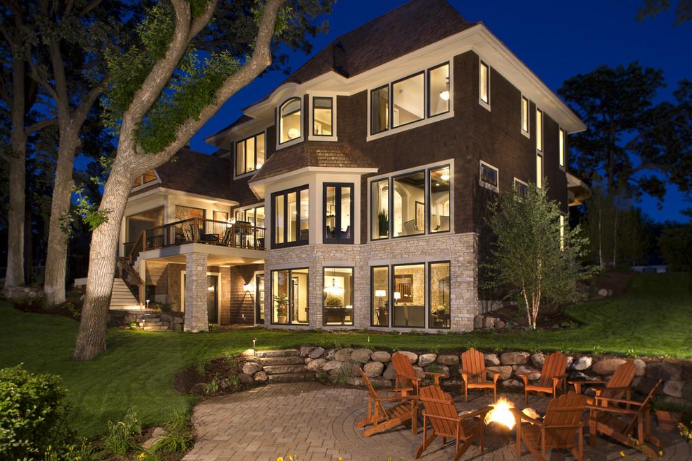 Elegant wood exterior home photo in Minneapolis