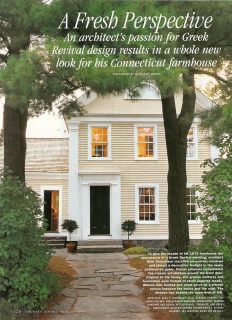 farm house transformed into a Greek Revival Farmhouse Exterior New York