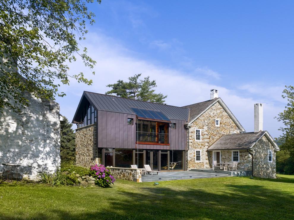 Farmhouse brown two-story mixed siding gable roof idea in Philadelphia