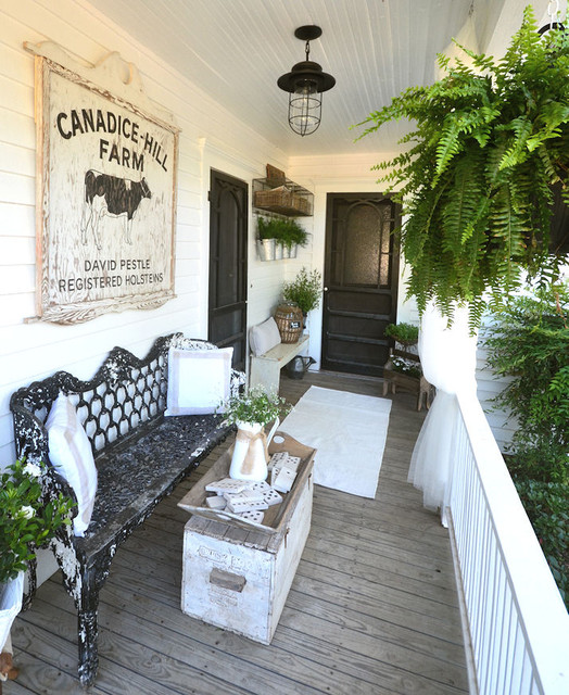 Farmhouse back porch and garden - Vintage front porch decorating ...