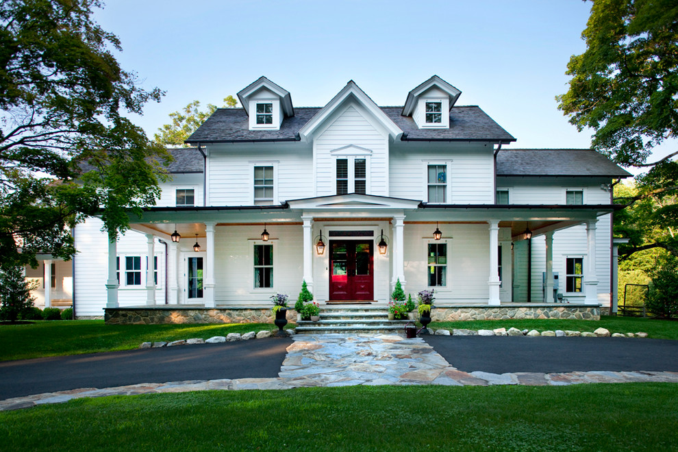 Traditional white three-story wood exterior home idea in New York