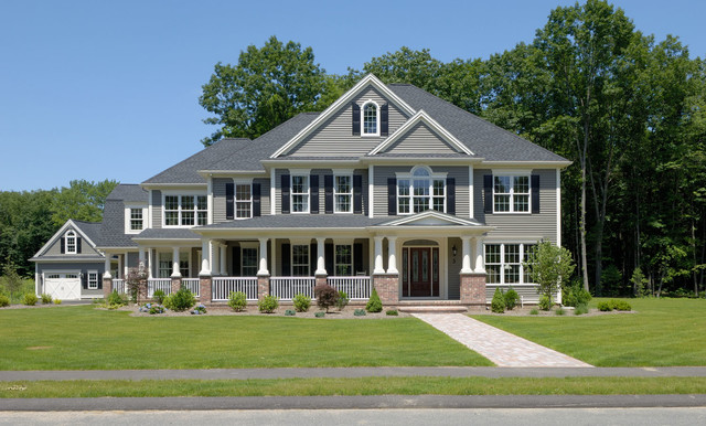 Farmhouse style colonial elements traditional exterior boston by laplante construction for Updated colonial home exterior