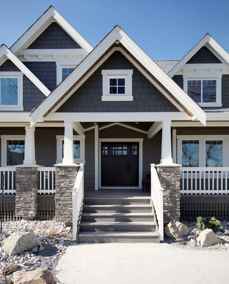 Inspiration for a large craftsman gray two-story concrete fiberboard exterior home remodel in Vancouver