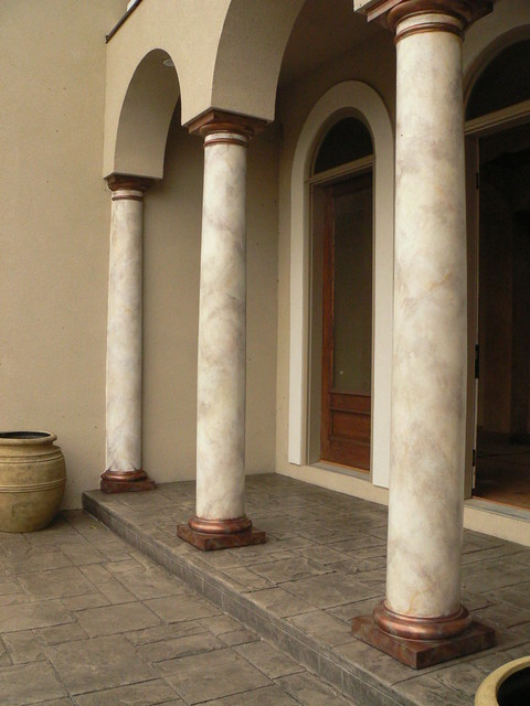 Faux marble columns craftsman exterior other metro Craftsman columns