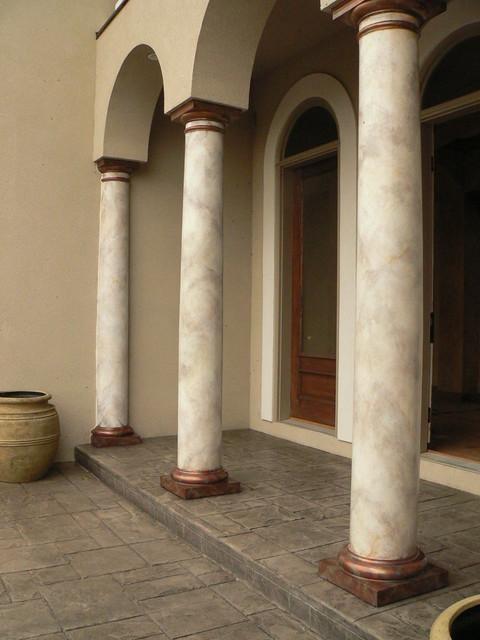 Faux Marble Columns Craftsman Exterior Austin By