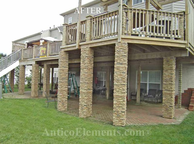 Exterior Faux Stone Columns : Faux stone columns post wraps column traditional